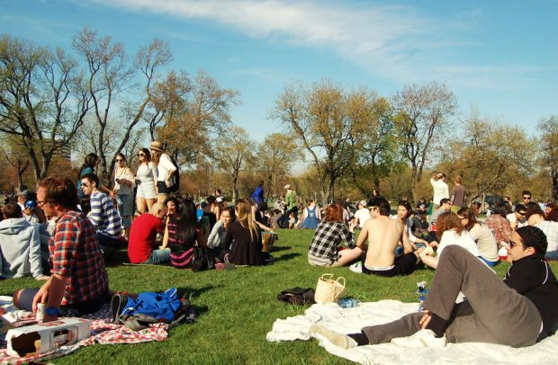 Hipsters in park