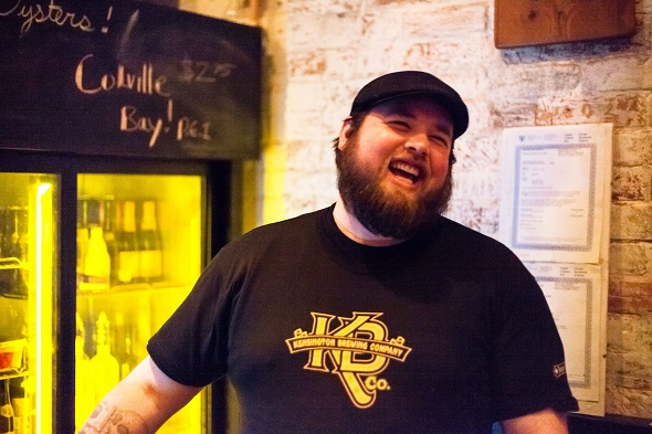 Bar Hop bartender Matt Bod laughing at something hilarious I said